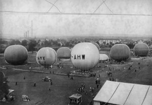 "Gordon Bennett Cup in Basel. Balloons before take-off. Polish baloons ""Gdynia"" (AHX) and ""Polonia"" (AHW) visible on the photograph. September 1932."