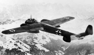 A German Dornier Do 215B bomber in flight. The Do 215 was fitted with Daimler Benz B 601 V12 piston engines.