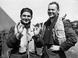 Sergeant Antoni Głowacki (on the left) and lieutenant Stefan Witorzeńć serving at Fighter Squadron 501 RAF